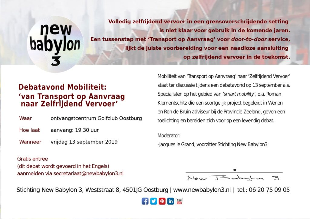 debat autonoom transport New Babylon 3 13 september 2019