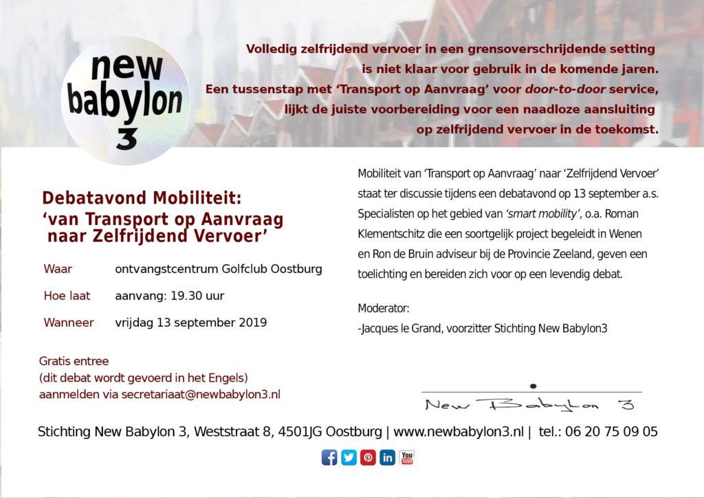debat autonoom transport New Babylon 3 13 september 2019